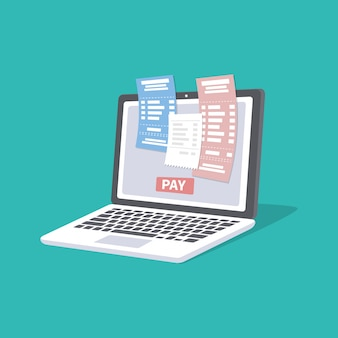 Concept of pay bills tax accounts online via computer or laptop. online payment service. laptop with checks and invoices on the screen. pay button.  illustration isolated.