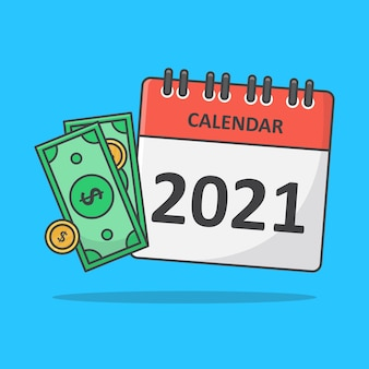Concept of payment date or payday. money with calendar flat