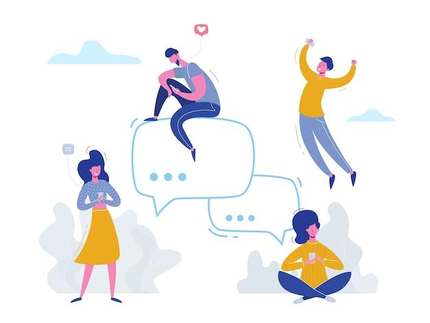ソーシャルメディア、ネットワーキング、コミュニティグループで電話でチャットしているコンセプトの人々のキャラクター。 webバナー、マーケティング資料、ビジネスプレゼンテーション、オンライン広告のイラストデザイン
