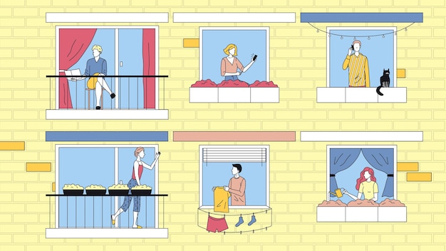 Concept of people leisure at home. characters are spending time at home in apartments. neighbors communicate to each other, do their business. cartoon linear outline flat style. vector illustration.