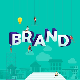 Concept people working for building text brand.  illustration.