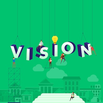 Concept people working for building text vision.  illustration.