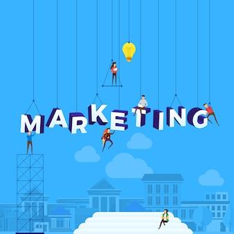 텍스트 마케팅을 구축하기 위해 일하는 개념 사람들. 삽화.
