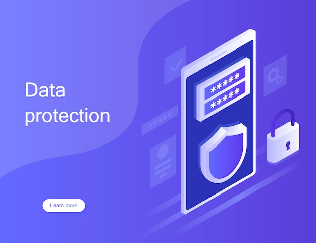 Concept personal data protection, web banner. cyber security and privacy. traffic encryption, vpn, privacy protection antivirus. modern illustration in isometric style