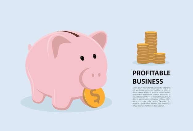 Concept piggy bank symbol profitable business.  illustration flat design