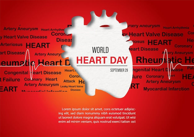 Concept poster campaign of world heart day in paper cut style and vector design