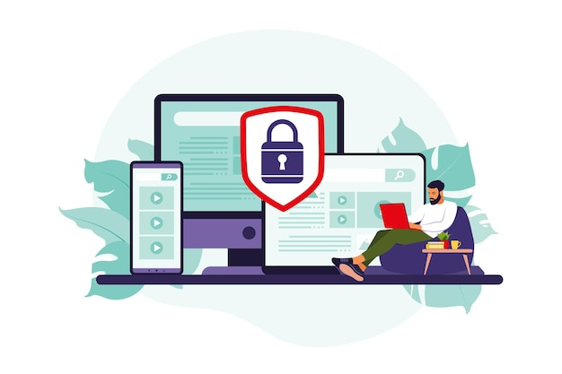 Concept of protecting computer data. general data security. personal information protection.