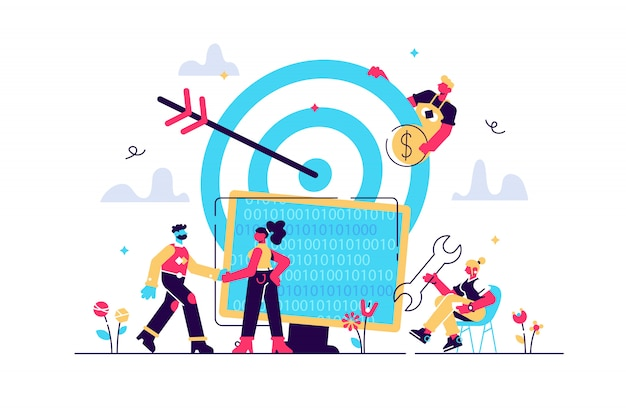 Concept reach the target for web page, banner, presentation, social media, documents. illustration business porters a successful team, rise career to success, good work, code, web development