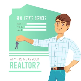 The concept of real estate services. agent showing a house.