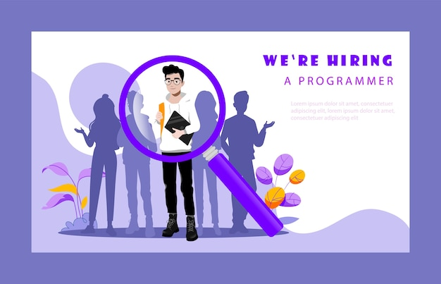 Concept of recruitment agency. hr manager is choosing best candidates for vacant programmer s position. employer searching for professional talented employees