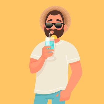 Concept of relaxation and summer vacation. a man in sunglasses is drinking a cocktail.