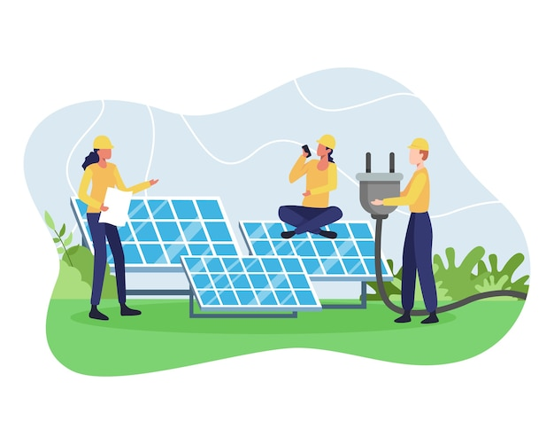 Concept of renewable energy. alternative energy resource with solar panels, solar panel power and engineer character. green and environmentally friendly energy. in a flat style