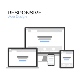 Concept responsive web design. landing page preview on gadgets screen.  isolated on white