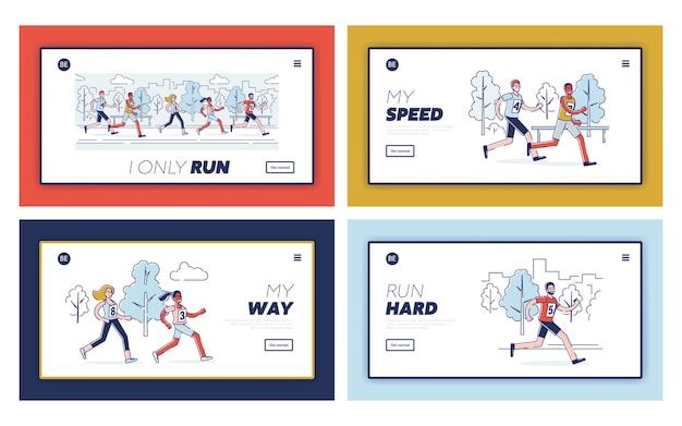Концепция бега марафона. целевая страница веб-сайта.