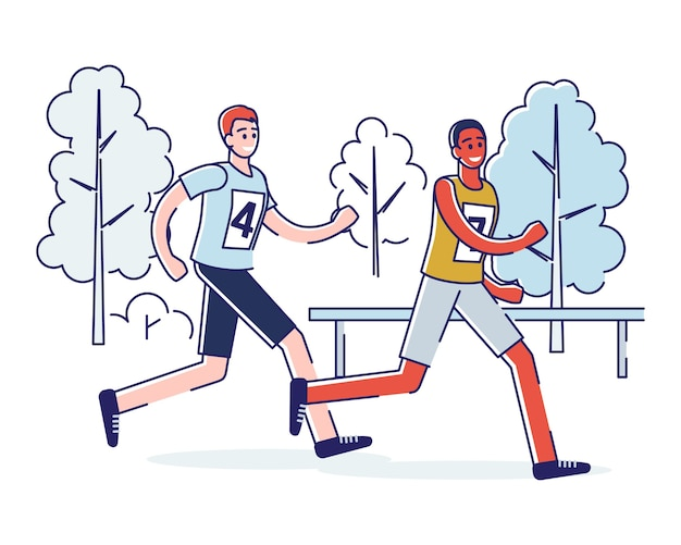 Concept of running marathon and healthy lifestyle.