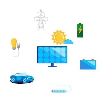 安全をコンセプトとし、代替の再生可能エネルギーを使用します。太陽エネルギーのコンセプトデザイン。