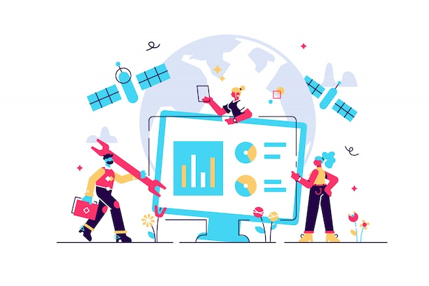 Webページ、バナー、プレゼンテーション、ソーシャルメディアの背景に地球とコンセプト衛星モニタリング。図、グローバルコミュニケーション、オンラインコンセプトの追跡、ワイヤレス技術