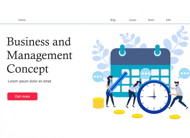 Concept save time and money landing page