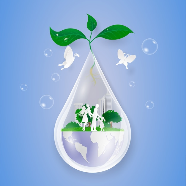 Concept save water, nature and wolrd with familly. paper cut art style.