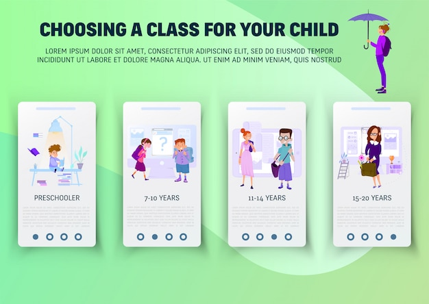 Concept of schoolwork for website  onboard screen set