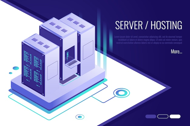 Concept of server hosting. data transmission technology and data protection