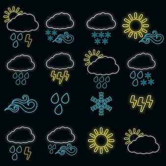 Concept set of 16 weather web icon glow neon style, various weather condition outline flat vector illustration, isolated on black. thunderstorm, sun, rain and cloud label.