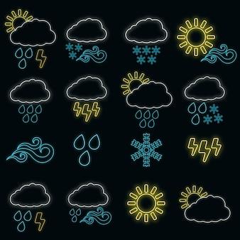 16개의 날씨 웹 아이콘 네온 스타일의 개념 세트, 다양한 기상 조건 개요 평면 벡터 일러스트레이션, 검정색으로 격리됩니다. 뇌우, 태양, 비 및 구름 레이블입니다.