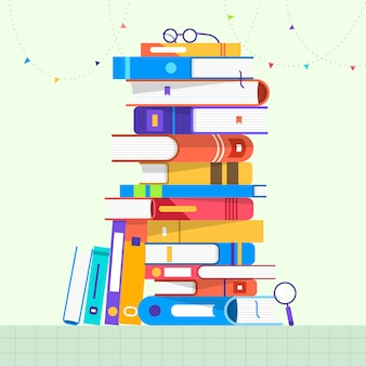 Концептуальный набор книг. проиллюстрировать.