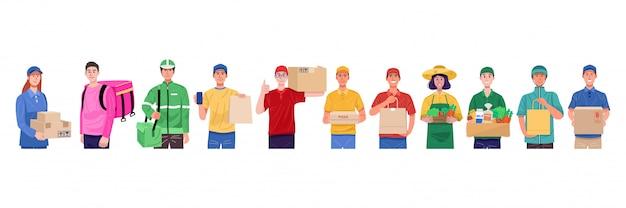 Концепция, набор доставщик в различных персонажей.