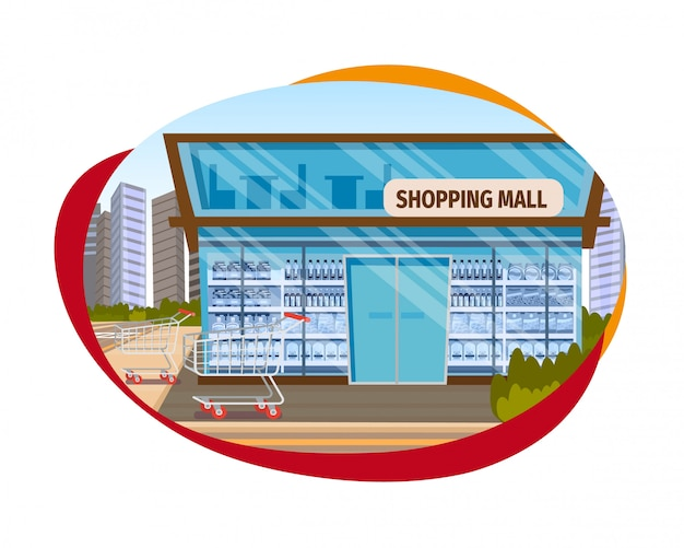 The concept shopping mall downtown on the road