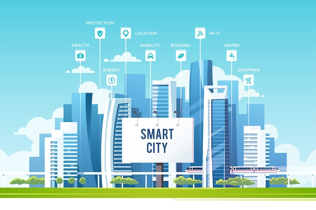 Concept of smart city with different icons and elements future technology for living urban landscape with buildings and skyscrapers  illustration