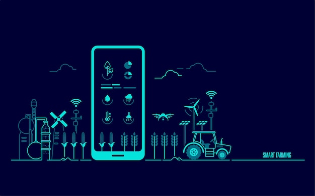 Concept of smart farming or agritech, graphic of mobile phone with agriculture technology application and farming environment