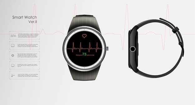 The concept of smart watches that monitor the parameters of sleep and rest, health and heart rate.