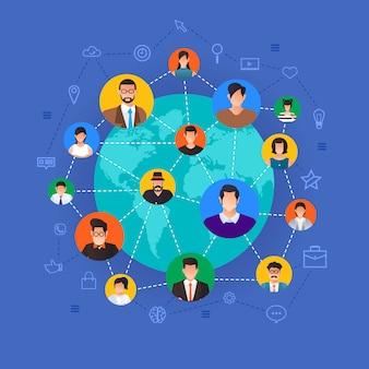 개념 소셜 네트워크. 라인과 아바타 아이콘으로 전 세계를 연결하는 사람들. 설명합니다.