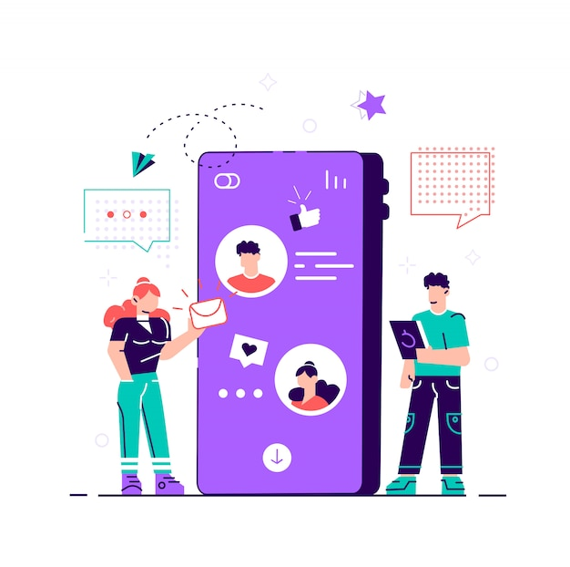 Concept of social networks for a web page, communication, social networks.  style modern   illustration for web page, cards, poster, social media. chatting via phone.