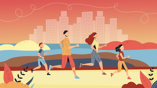 Concept of sport and leading healthy lifestyle. family is running marathon together in park. father, mother, son and daughter jogging and exercising together. cartoon flat style. vector illustration.