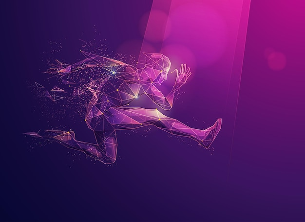 Concept of sport science technology, graphic polygon runner with futuristic element