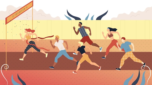 Concept of sports competition of jogging