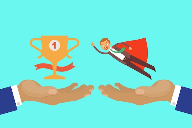Концепция запуска нового бизнеса, запуск технологии, люди работают в творческой команде для достижения успеха, иллюстрации шаржа.