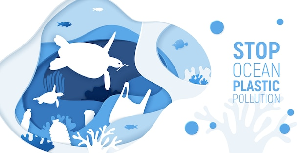 Concept of stop ocean plastic pollution. paper cut underwater background with plastic rubbish, turtles and coral reefs.