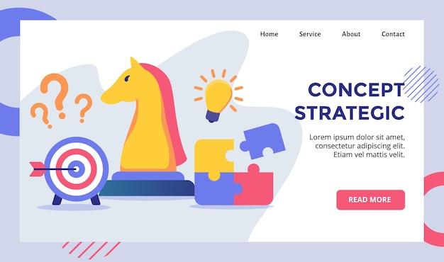 Концепция стратегической кампании шахматной лошади для шаблона целевой страницы домашней страницы веб-сайта с современными
