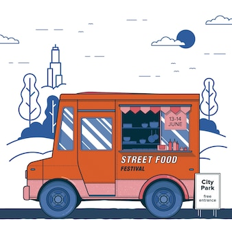 Concept of street food festival. poster with bright orange food truck. colorful placard.