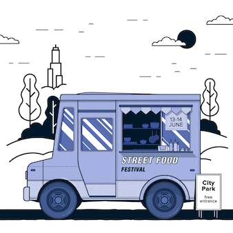 Concept of street food festival. purple food truck. colorful  illustration.