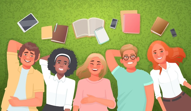 Concept of student life and friendship happy friends boys girls on the grass with books and gadgets