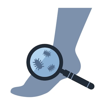 The concept of studying the fungus legs the loupe is aimed at the silhouette of the human foot