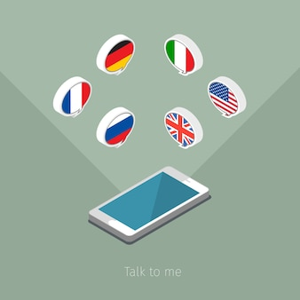 Concept of studying languages or travel. speech bubble with flags. flat design,