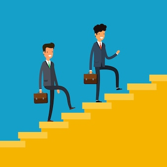 Concept of success. business people climbing a flight of stairs. flat design, vector illustration.