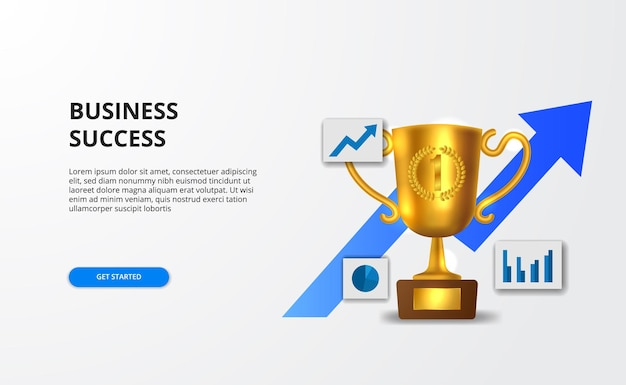 Concept successful business growth with graph and 3d golden realistic trophy