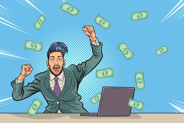Concept of successful business man, finance wealth profit.