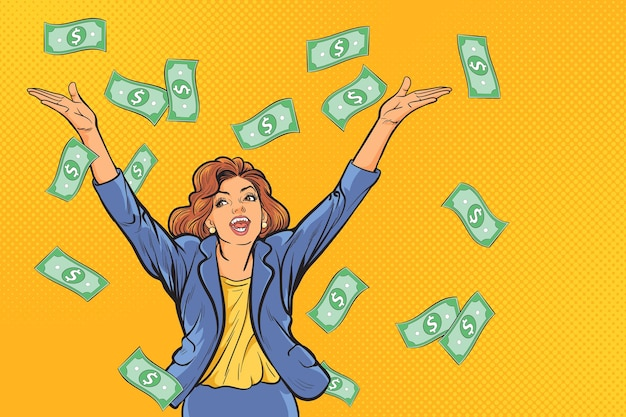 Concept of successful business woman, finance wealth profit